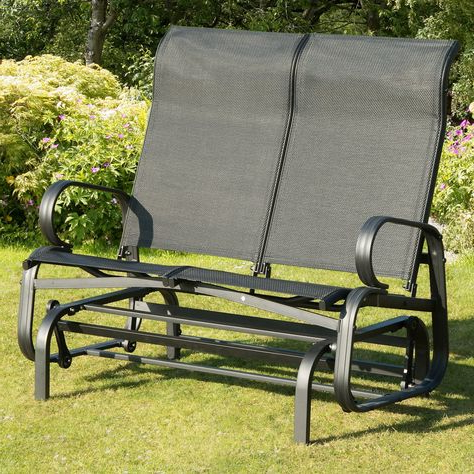 Favorite Black Outdoor Durable Steel Frame Patio Swing Glider Bench Chairs With Regard To Transcontinental Outdoor Havana Black Sling Outdoor Glider (View 6 of 20)