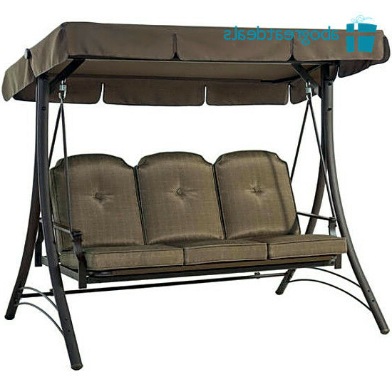 Favorite Canopy Porch Swings Pertaining To Outdoor 3 Seat Porch Swing With Canopy Patio Furniture Cushion Chair Hammock Bed (View 2 of 20)