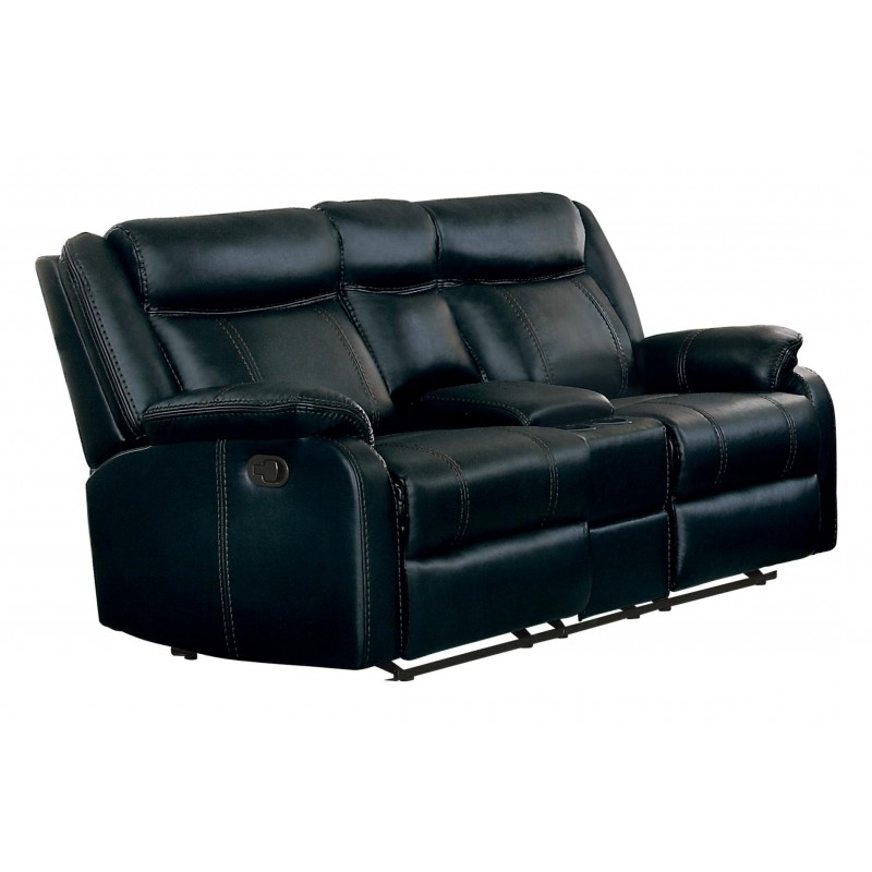 Favorite Double Glider Loveseats Regarding 8201blk 2 Double Glider Rec Loveseat (View 17 of 20)