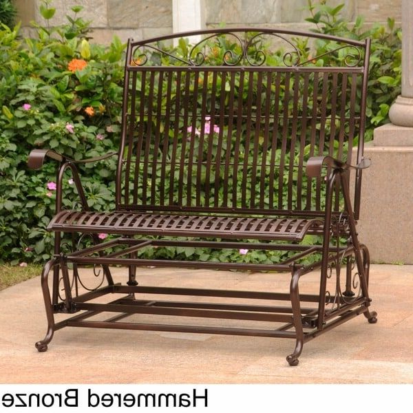 Favorite Iron Double Patio Glider Benches For Shop International Caravan Mandalay Iron Double Glider Bench (View 11 of 20)