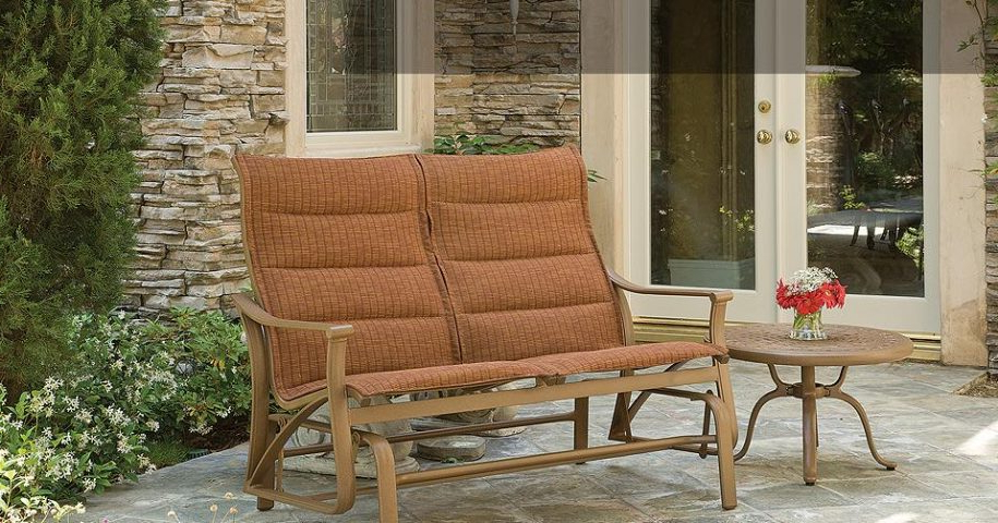 Favorite Padded Sling Double Glider Benches Intended For Montreaux Padded Sling Double Glider – Labadies Patio (Gallery 14 of 20)