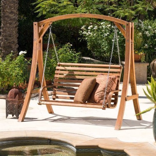 Favorite Patio Garden Swing Chair Wooden Set Outdoor Backyard Yard Intended For Hardwood Hanging Porch Swings With Stand (View 6 of 20)