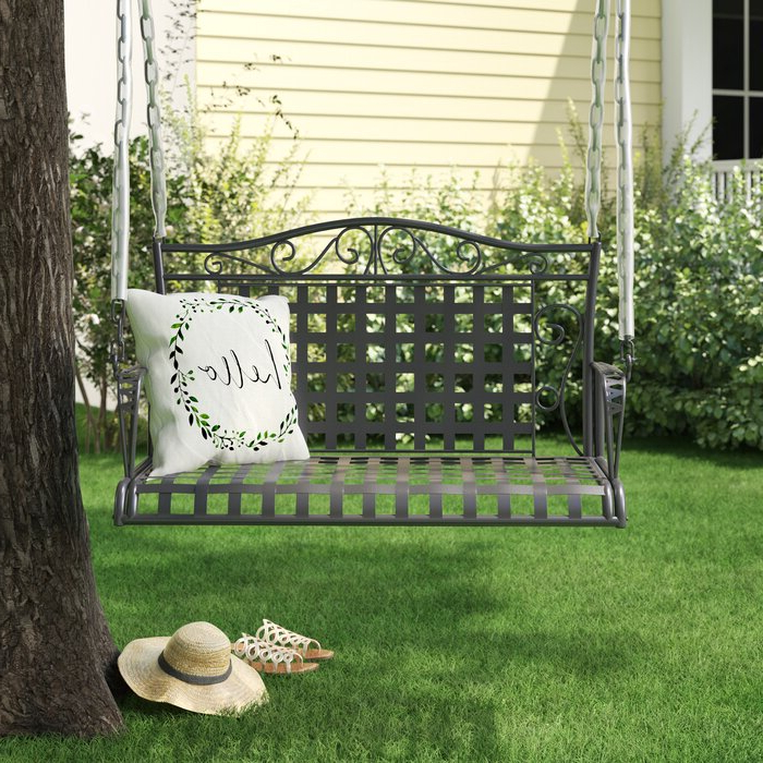 Favorite Saundra Iron Porch Swing Within 2 Person Hammered Bronze Iron Outdoor Swings (Gallery 2 of 21)