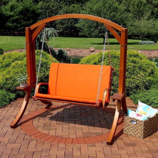 Favorite Shop Sunnydaze Deluxe 2 Person Outdoor Wooden Patio Swing Intended For 2 Person Light Teak Oil Wood Outdoor Swings (View 4 of 20)