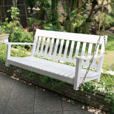 Favorite Thames White Wood Porch Swing Inside Hardwood Hanging Porch Swings With Stand (View 7 of 20)