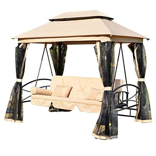 Favorite Top 10 Best Patio Swings In 2020 Review – A Best Pro With Regard To 2 Person Outdoor Convertible Canopy Swing Gliders With Removable Cushions Beige (Gallery 17 of 20)