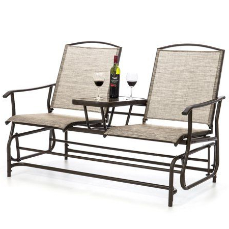 Free Shipping. Buy Best Choice Products 2 Person Outdoor Within 2019 Center Table Double Glider Benches (Gallery 10 of 20)