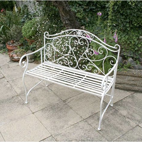 French Garden Bench Antique Vintage Loveseat Outdoor Metal Inside Most Recent 2 Person Antique Black Iron Outdoor Gliders (View 18 of 20)