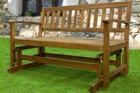 Garden Bench With Rocking System Wooden Glider Bench Inside Preferred Rocking Glider Benches (Gallery 17 of 20)