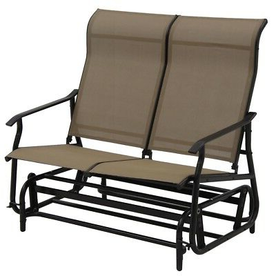 Garden Double Patio Glider Rocking Armchair Outdoor Lounge Regarding Widely Used Iron Double Patio Glider Benches (View 19 of 20)