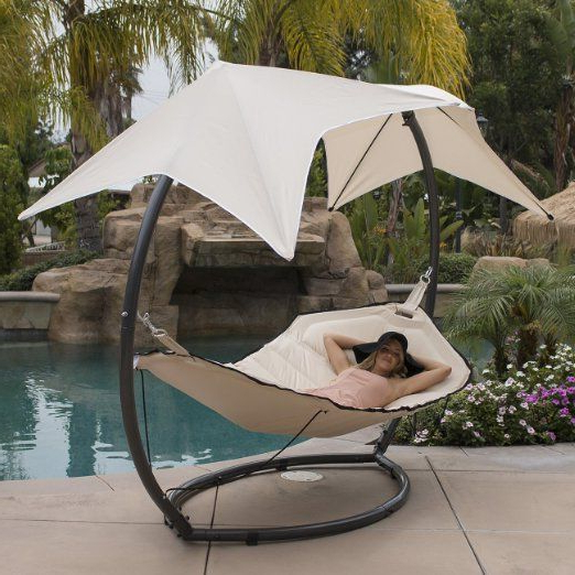 Garden Leisure Outdoor Hammock Patio Canopy Rocking Chairs For Best And Newest Bellezza© Hammock Swing With Sunroof Dual Canopy Sunshade (View 5 of 20)