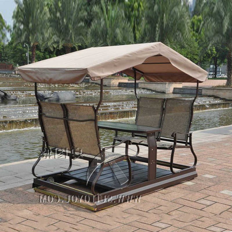 Garden Leisure Outdoor Hammock Patio Canopy Rocking Chairs With Regard To Newest Modern 4 Seats Right Left Movable Outdoor Swing Chair Adult (Gallery 9 of 20)