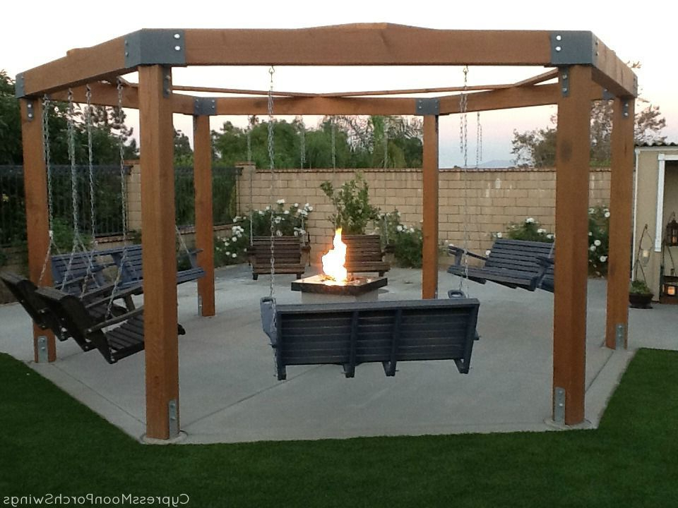Gazebo With Fire Pit, Fire Pit With Patio Gazebo Porch Swings (View 8 of 20)