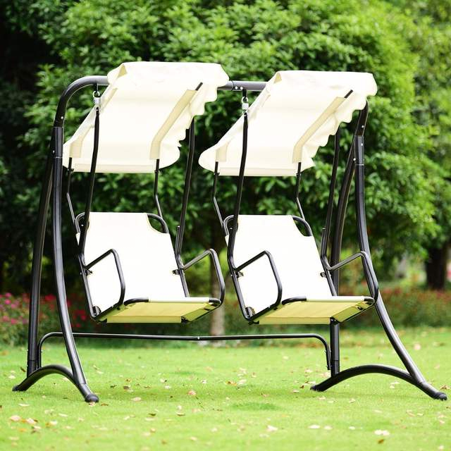 Giantex 2 Person Hammock Porch Swing Patio Outdoor Hanging  Loveseat Canopy Glider Swing Outdoor Furniture Op3540 On Aliexpress (View 5 of 20)
