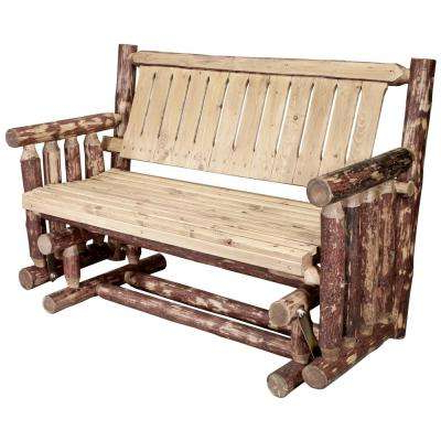 Glacier 2 Person Wood Outdoor Glider For Current Indoor/outdoor Double Glider Benches (View 10 of 20)