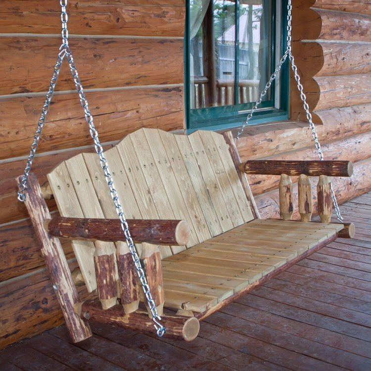 Glacier Country Log Porch Swing Pertaining To Most Recently Released Porch Swings (View 5 of 20)