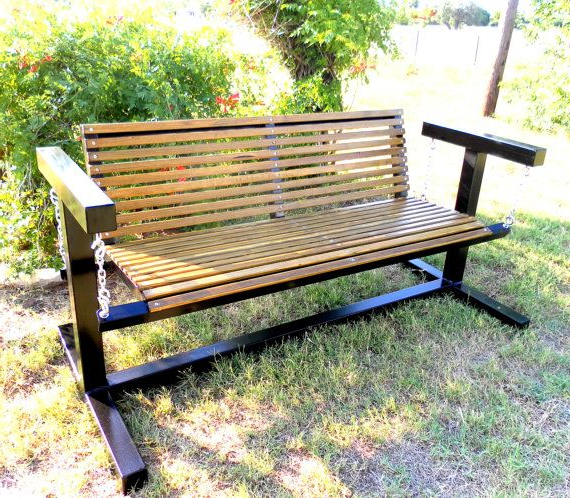 Glider Swing With Metal Frame And Wood Seat Intended For Most Popular Low Back Glider Benches (View 15 of 20)