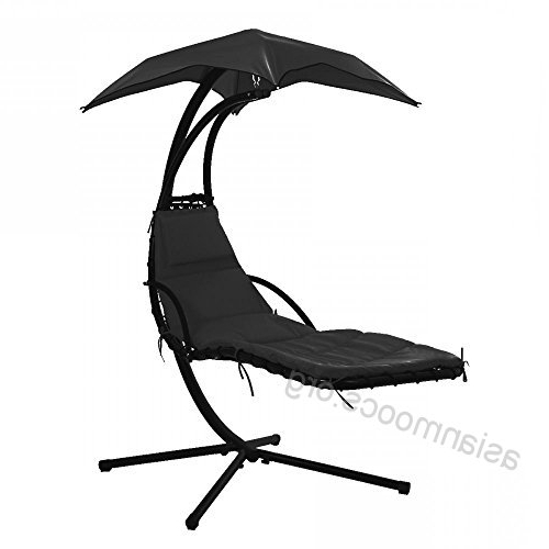 Hanging Chaise Lounger Chair Arc Stand Air Porch Swing Intended For Well Known Outdoor Canopy Hammock Porch Swings With Stand (View 7 of 20)