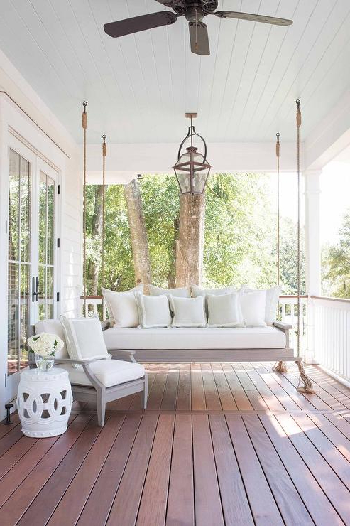Hanging Daybed Rope Porch Swings For Latest Rope Hanging Gray Wash Porch Swing Sofa With Tassel Trim (View 7 of 20)