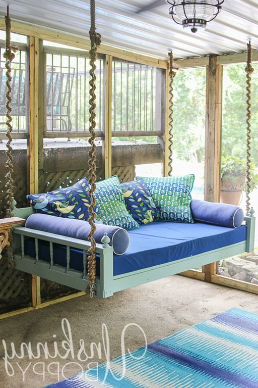 Hanging Daybed Rope Porch Swings Within Famous Love This Fun Couch Swing Daybed (View 3 of 20)