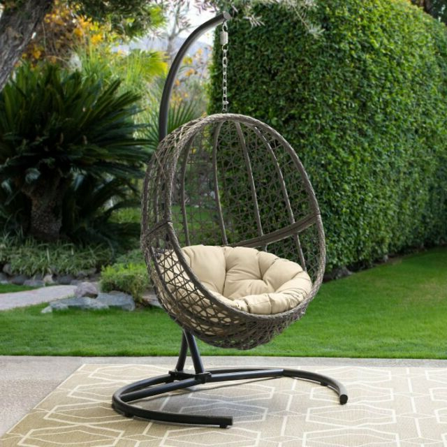 Hanging Egg Chair With Stand And Cushion Outdoor Patio Porch Wicker Swing Seat Intended For Latest Outdoor Wicker Plastic Tear Porch Swings With Stand (View 12 of 20)