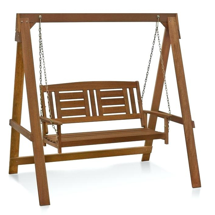 Hanging Porch Swing Hardware Lowes Patio – Gaotizi In Preferred 2 Person Light Teak Oil Wood Outdoor Swings (View 13 of 20)