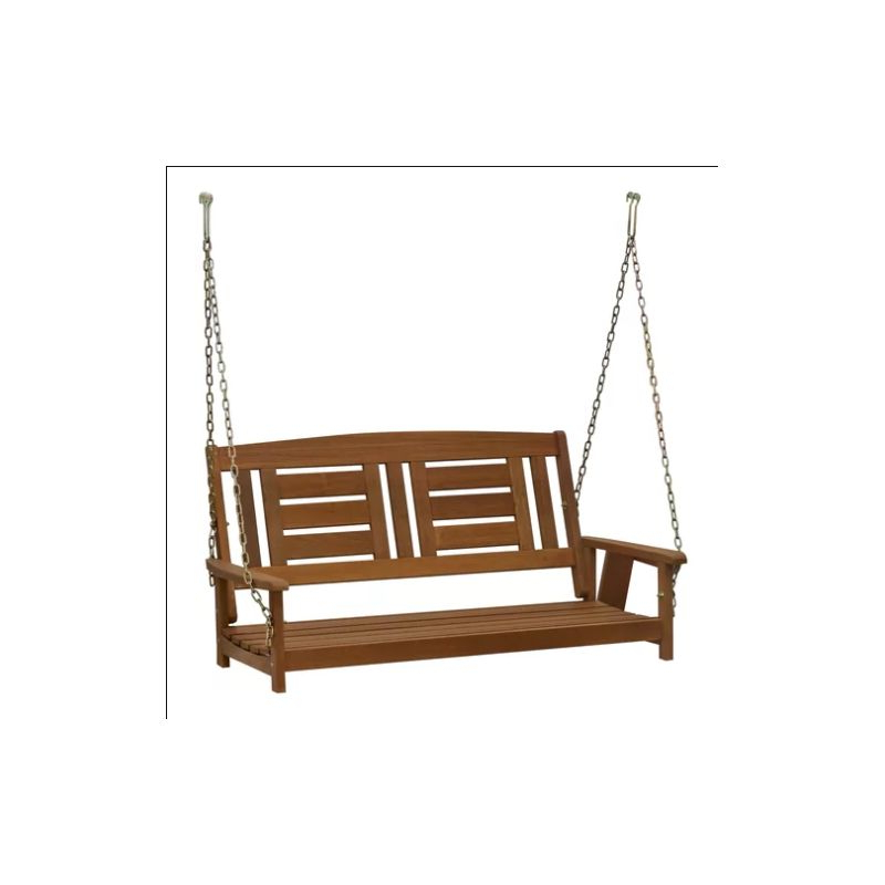Hanging Swing Bench Outdoor Patio Furniture 2 Seater Seat Wooden Porch Chair Pertaining To Well Liked 2 Person Light Teak Oil Wood Outdoor Swings (View 18 of 20)