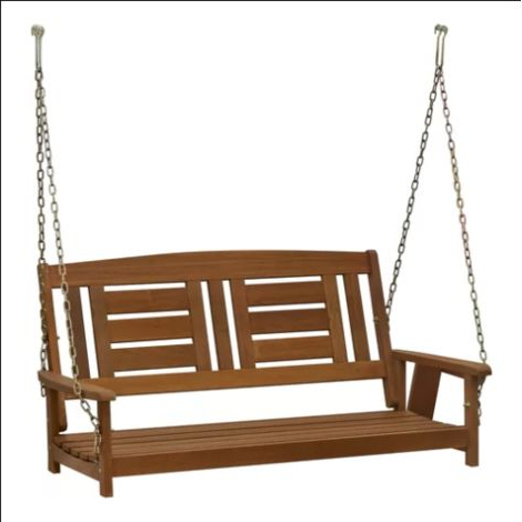 Hanging Swing Bench Outdoor Patio Furniture 2 Seater Seat Wooden Porch Chair Pertaining To Well Liked 3 Person Light Teak Oil Wood Outdoor Swings (View 11 of 20)