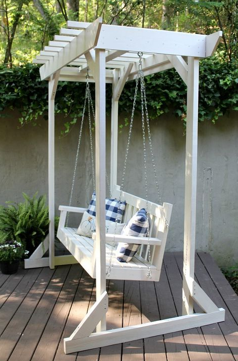 Home With Widely Used Pergola Porch Swings With Stand (View 17 of 20)