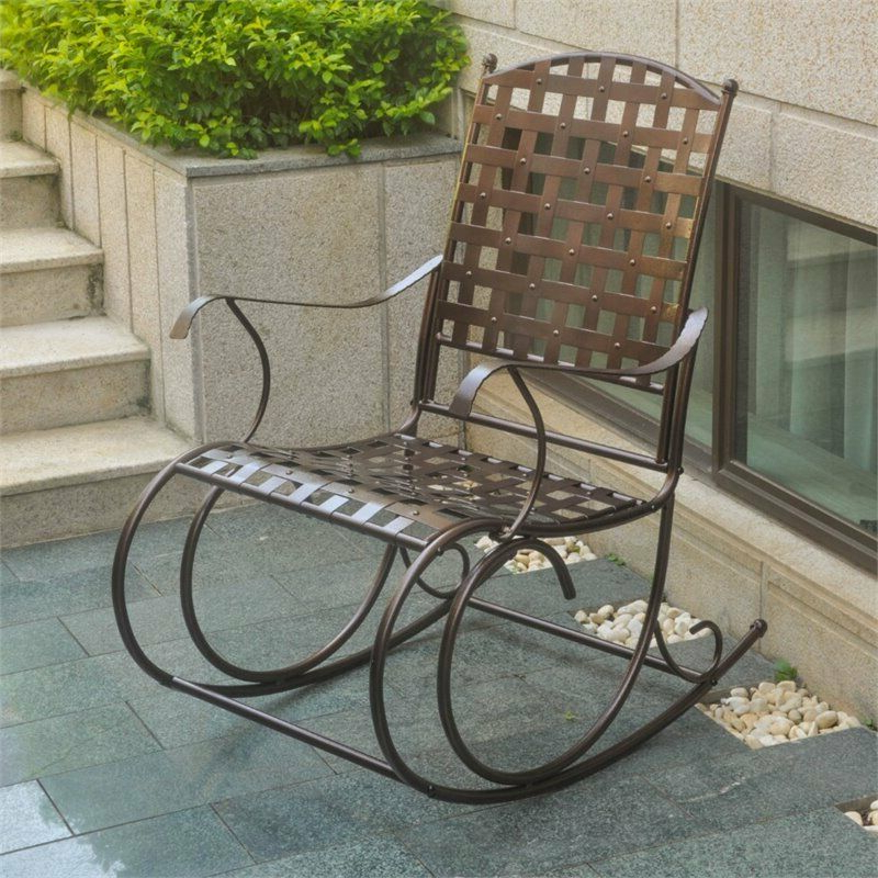 International Caravan Santa Fe Patio Metal Rocker In Hammered Bronze With Recent 2 Person Hammered Bronze Iron Outdoor Swings (Gallery 11 of 21)