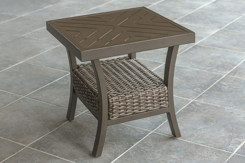 Iron Grove Slatted Glider Benches With Popular Agio Trenton Woven Slat Top Square End Table (View 18 of 20)