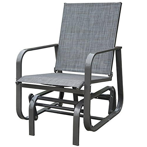Kozyard Fleya Outdoor Smooth Rocking Glider Chair With Strong And  Breathable Textilene, Sturdy Steel Frame For Pation, Yard Or Garden Throughout Well Liked Rocking Love Seats Glider Swing Benches With Sturdy Frame (View 7 of 20)