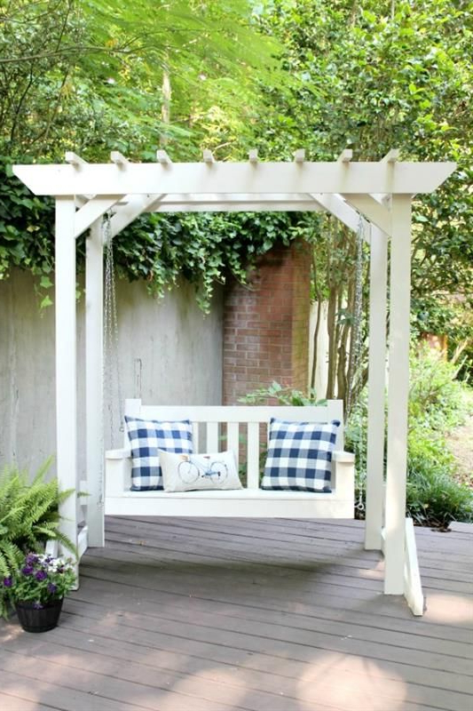 Lamp Outdoor Porch Swings For Popular Wooden, Outdoor Swing, A Swing With Pergola (View 7 of 20)