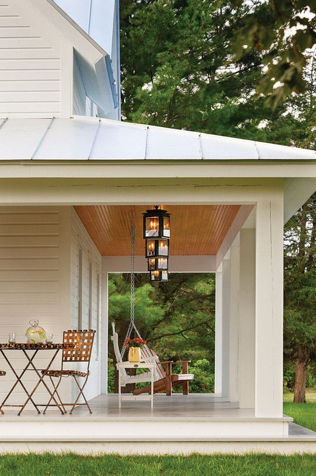 Lamp Outdoor Porch Swings Pertaining To Most Current Farmhouse Porch, Metal Roof, Painted Porch Wood Floor, Porch (View 2 of 20)