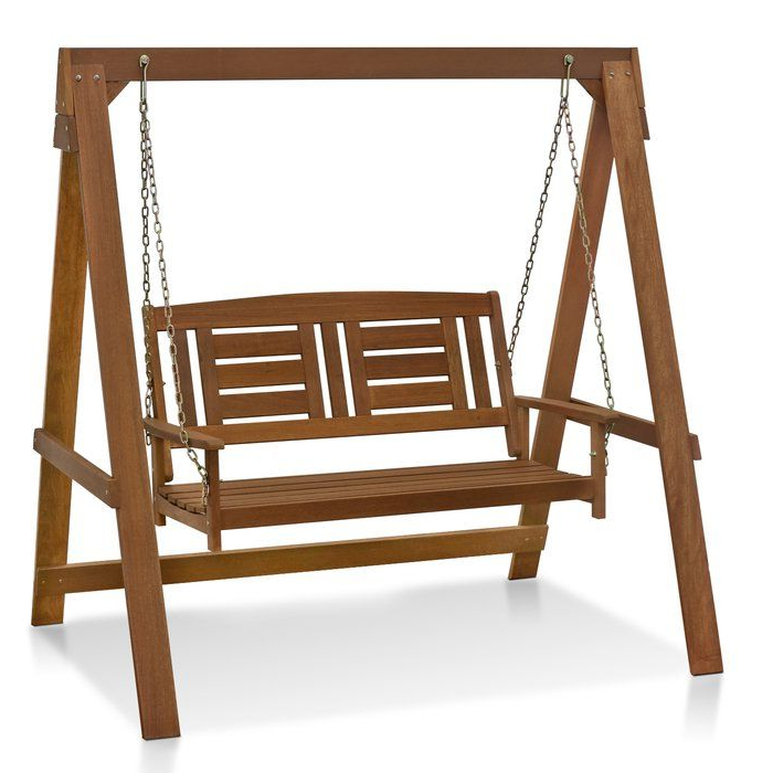 Langley Street Arianna Hardwood Hanging Porch Swing With Within 2019 Hardwood Hanging Porch Swings With Stand (View 3 of 20)