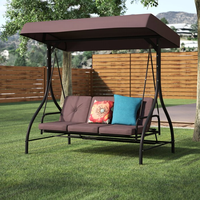 Lasalle Canopy Patio Porch Swing With Stand Pertaining To 2020 Patio Porch Swings With Stand (View 7 of 20)