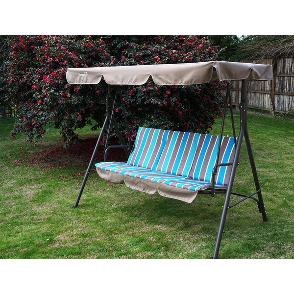 Latest Alicia Patio Swing Chair With 3 Comfortable Cushion Seats And Strong Weather Resistant Powder Coated Steel Frame (colour: Red Stripe) With Regard To 3 Person Red With Brown Powder Coated Frame Steel Outdoor Swings (View 5 of 20)