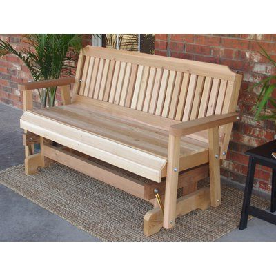 Latest Cedar Colonial Style Glider Benches With Regard To Millwood Pines Courtney Cedar Glider Bench Finish: Stained (View 2 of 20)
