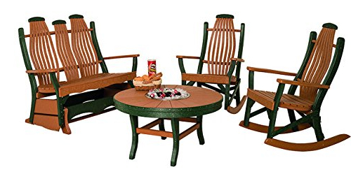 Latest Poly Lumber Patio Furniture Set With 1 Snack Table, 1 Double With Traditional English Glider Benches (View 16 of 20)