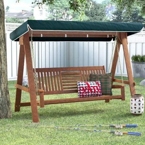 Loon Peak Allen 3 Seater Wood Canopy Porch Swing With Stand In Most Popular Daybed Porch Swings With Stand (View 5 of 20)
