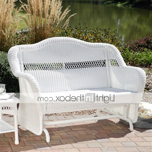 Loveseat Glider Benches Intended For Well Known White Resin Wicker Outdoor 2 Seat Loveseat Glider Bench Patio Armchair (View 20 of 20)