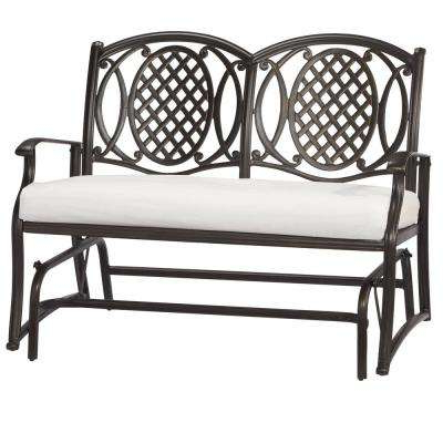 Loveseat Glider Benches Pertaining To Most Recently Released Belcourt Custom Metal Outdoor Glider With Cushions Included, Choose Your Own Color (View 14 of 20)
