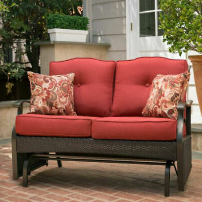 Loveseat Glider Benches With Cushions Pertaining To Famous 2 Person Red Cushion Patio Loveseat Glider Bench Outdoor (View 8 of 20)