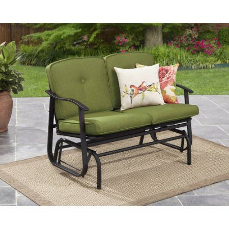 Mainstays Belden Park Outdoor Loveseat Glider With Cushion Inside Trendy 2 Person Outdoor Convertible Canopy Swing Gliders With Removable Cushions Beige (View 15 of 20)