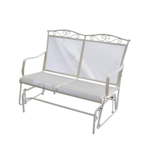 Metal Powder Coat Double Seat Glider Benches Pertaining To Most Up To Date Backyard Creations® Antique Ivory Wrought Iron Patio Double (View 18 of 20)