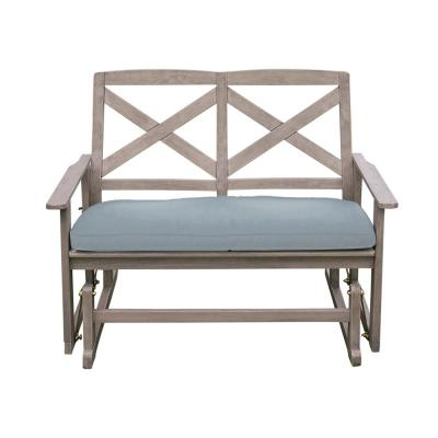 Metal Powder Coat Double Seat Glider Benches Regarding Most Recently Released Gardenised 50 In. Black 2 Person Metal Patio Garden Park (Gallery 12 of 20)