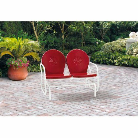 Metal Retro Glider Benches Regarding Most Recently Released Mainstays Retro Metal Glider, Red, Seats 2 W (Gallery 16 of 20)