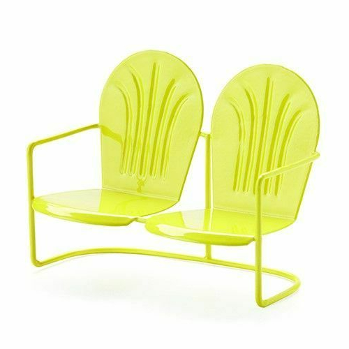 Miniature Fairy Garden Yellow Retro Loveseat Metal Glider – Buy 3 Save $5 Inside Best And Newest Outdoor Retro Metal Double Glider Benches (View 19 of 20)