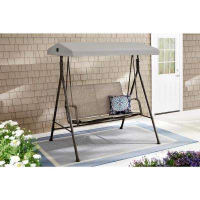 Mix And Match 2 Person Steel Sling Dark Taupe Outdoor Patio Swing In Taupe Throughout Favorite 2 Person Hammered Bronze Iron Outdoor Swings (Gallery 6 of 21)