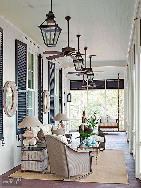 Modern Farmhouse Porch With Popular Lamp Outdoor Porch Swings (Gallery 6 of 20)